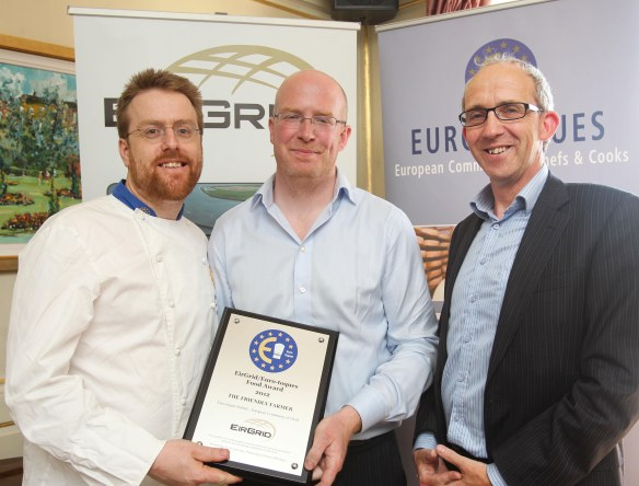 Ronan Byrne, The Friendly Farmer being presented with his 2012 Euro-Toques Food Award by chef JP McMahon and Aidan Corcoran of EirGird. Ronan is one of the producers we will visit on this outing, while JP McMahon will feature his produce on the menu for the Euro-Toques dinner he will host on the day