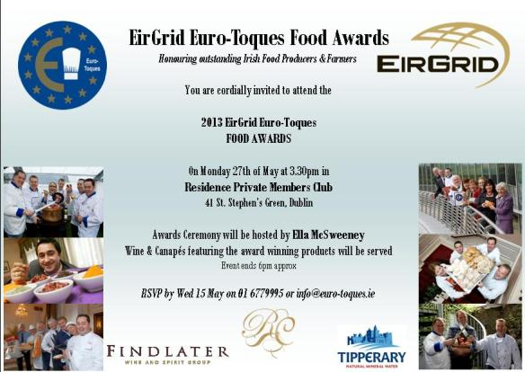 EirGrid Euro-Toques Food Awards Invite